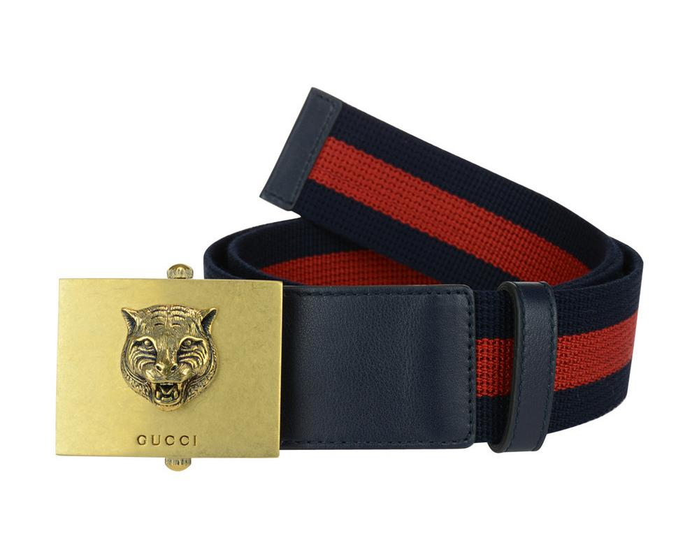 Gucci Men's Web Stripe Lion Buckle Belt Size: 90/36 ...