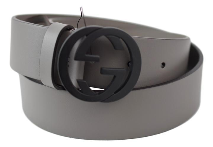 c89e557d4 Gucci Men's Gray Leather Belt with Interlocking G Buckle – Luxury Krush