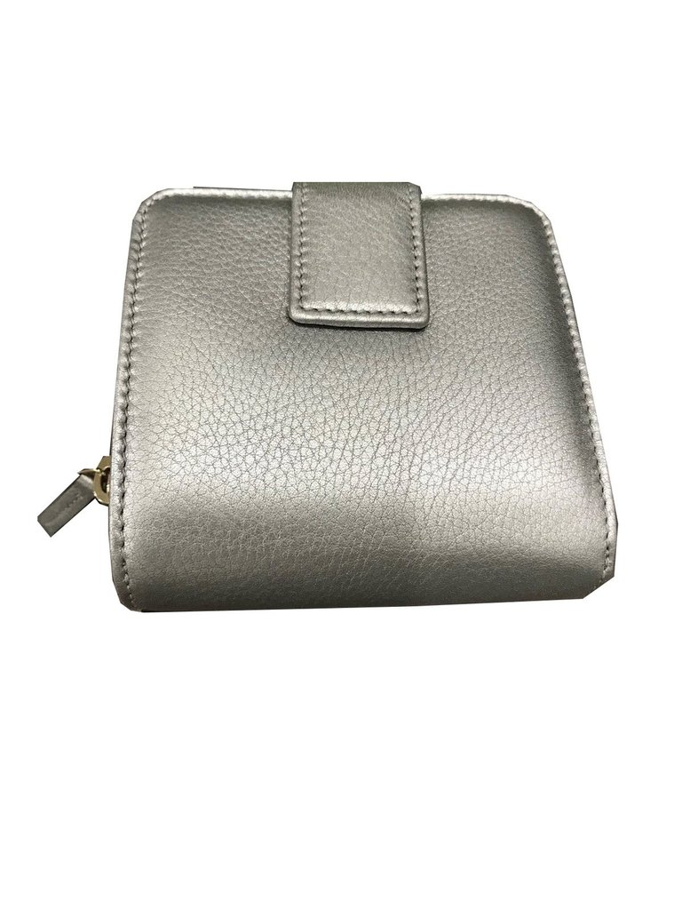 9a3160af415a Gucci Women's Soft Calf Leather French Flap Wallet Metallic Silver ...