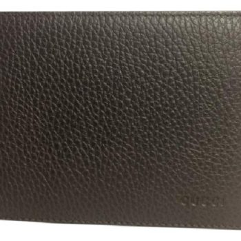 a13bbe5a2587 Gucci Men's Leather Embossed Logo Tri-fold Wallet Dark Chocolate